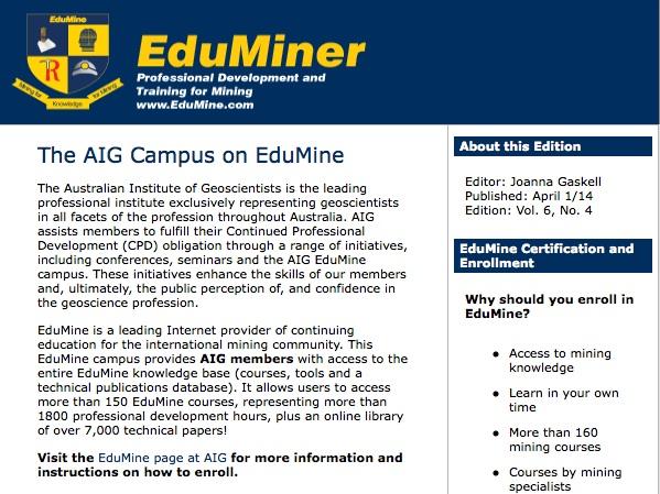 AIg Edumine Newsletter