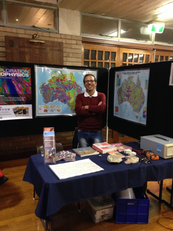 ASEG WA committee member Javad Khoshnavaz manning the ASEG stand at the expo.