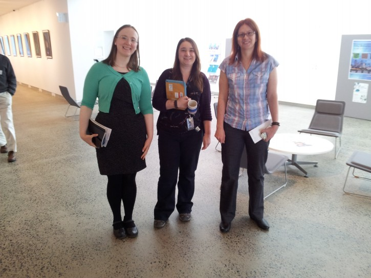 From left to right:Tamsin Ross, Helen Brand and Kathryn Spiers who helped conduct the AIG tour of the Australian Synchrotron facility