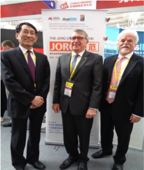 Wang Jia Hua (China Mining Association), Geoff Sharrock (President AusIMM), Gerry Fahey (AIG Representative)