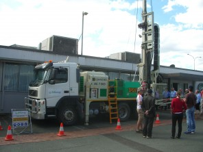 A drillpower rig on display at the Drilling for Geology seminar in Brisbane recently