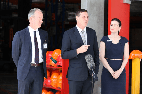 From left the Geological Survey of Queensland's Chief Government Geologist, Tony Knight, Minister for Natural Resources and Mines, Dr Anthony Lynham and State Member for Nudgee Ms Leanne Linard opening the new centre.