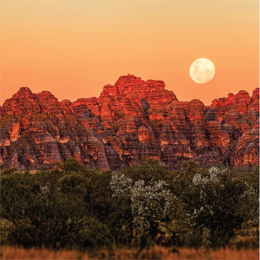 Moonrise over the Bungle Bungles in Western Australia